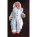Angora romper baby 0-6 months. Woollen jumpsuit blue and white. Woollen romper
