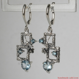 Blue Topaz Silver Earrings. Sky blue topaz gemstone topaz in styish contemporary design earrings, Gift for her