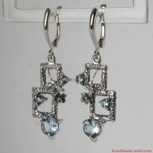 Blue Topaz Silver Earrings. Sky blue topaz gemstone topaz in styish contemporary design earrings, Gift for her