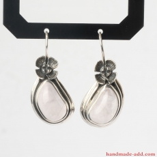 Rose quartz Earrings, Sterling Silver Earrings with genuine Rose Quartz, Silver dangle Earrings handcrafted