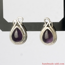 Stud Silver Amethyst Earrings, Sterling Silver Earrings with genuine Amethyst.