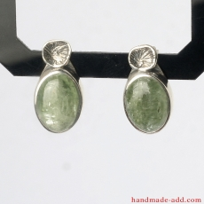 Green Kyanite Earrings, Sterling Silver Earrings with genuine Green Kyanite, Silver stud Earrings handcrafted
