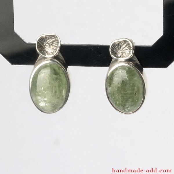 Green Kyanite Earrings, Sterling Silver Earrings with genuine Green Kyanite, Silver stud Earrings handcrafted