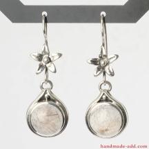 Rutilated Quartz Earrings, Sterling Silver Earrings with golden rutilated quartz, Silver Dangle and Drop Earrings handcrafted