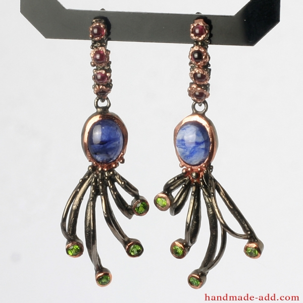 Silver dangling earrings Peridot, Rhodolite, Sapphire.