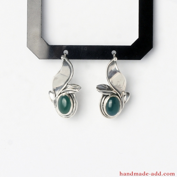 Dangle Silver Earrings Green Agate