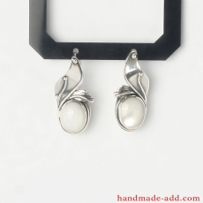 Silver Dangle Earrings with Mother-of-pearl