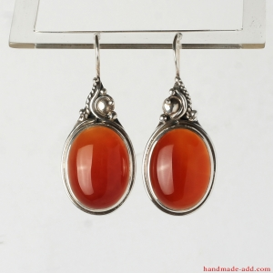 Dangling Earrings Carnelian. Sterling Silver Earrings with  Red Carnelian