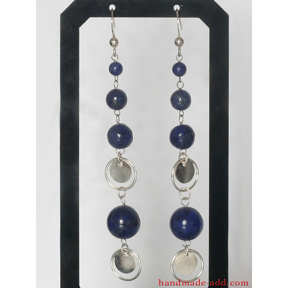 Sterling Silver Faceted Natural AZURITE Gemstone Dangle Earrings...Handmade USA