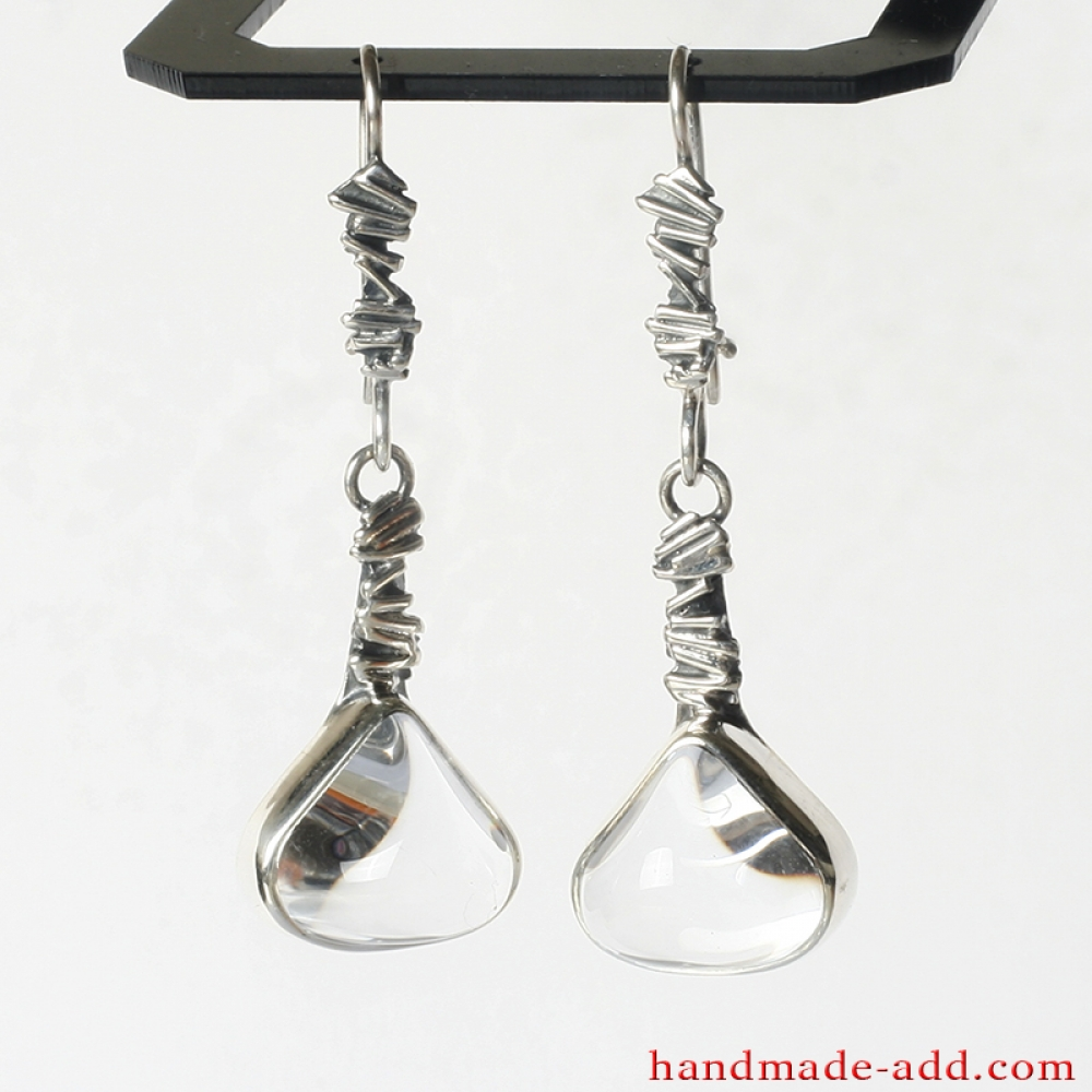 Dangle Silver Earrings Quartz