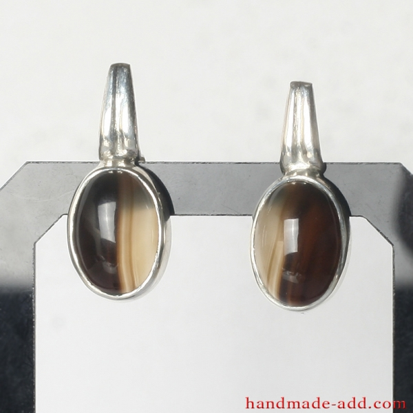 Silver Earrings with Agate