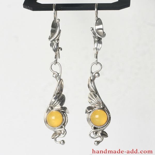 Dangle Silver Earrings Amber