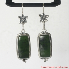 Dangle Silver Earrings Nephrite
