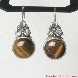 Dangle Silver Earrings with Tiger's Eye