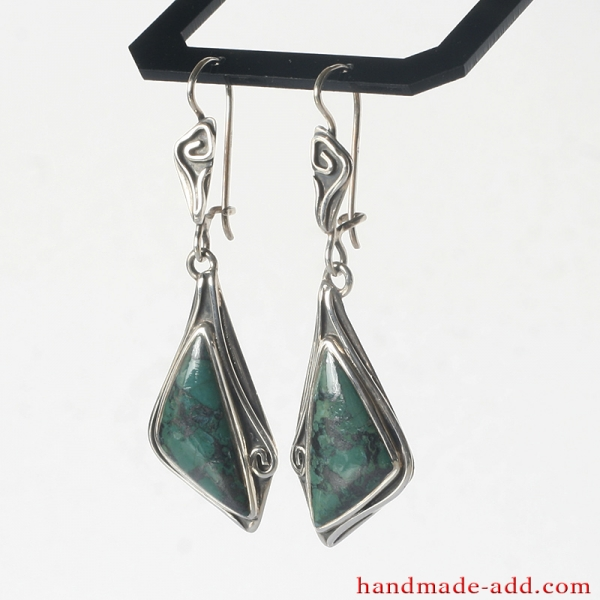 Dangle Silver Earrings with Chrysocolla