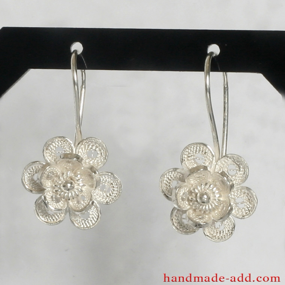 Filigree Dangle Silver Earrings Sterling Handmade