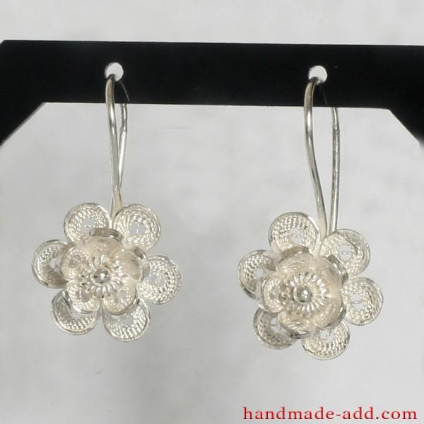 Filigree Dangle Silver Earrings, Sterling Silver Earrings, Silver Dangle Earrings, Handmade Filigree Earrings, Dangle Earrings