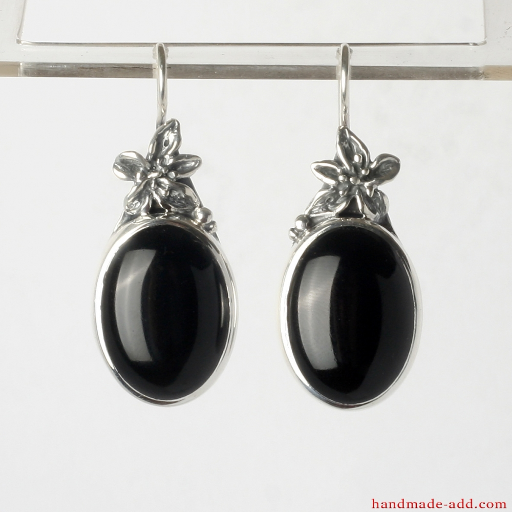 852cdf9d8 Dangling Earrings. Sterling Silver Earrings with Black Onyx and Floral  Style ...