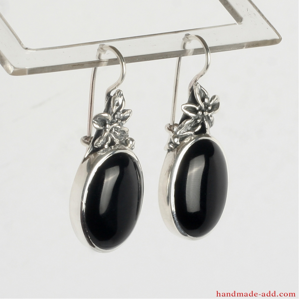 60dc74618 Sterling Silver Earrings with Black Onyx and Floral Style; Dangling Earrings .