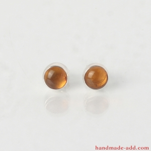 Silver Circle Stud Earrings with Genuine Amber