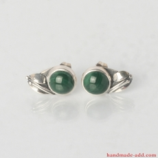 Silver Circle Stud Earrings with Malachite