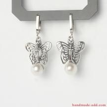 Dangle Silver Earrings, Sterling Silver Earrings Pearls, Silver Dangle Earrings, Handmade Earrings, Dangle Earrings.