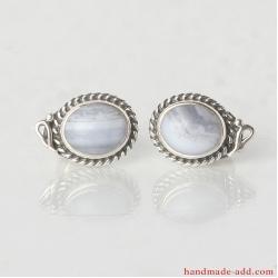 Stud Earrings. Sterling Silver Earrings with Sapphirine
