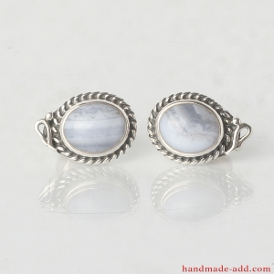 Stud Earrings. Sterling Silver Earrings with Sapphirine