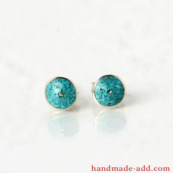 Silver Circle Stud Earrings with Turquoise