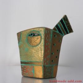 Ceramic Bird Gold and Copper Figurine Pottery, Bird Art, Fireplace decor, Birthday Gift