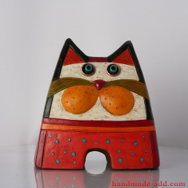 Statuette Cat Pottery, Cats, Cat Art, Ceramic Cat Decor, Ceramic Cats, Cat Sculptures