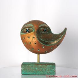 Ceramic screech-owl, Bird Art, Fireplace decor, Birthday Gift