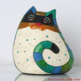 Ceramic cat - Home decor - Pottery White Unusual Cat - Handmade Fireplace decor.