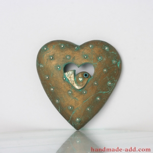 Ceramic Heart, Bird Art, Ready to hang wall decor, Birthday Gift