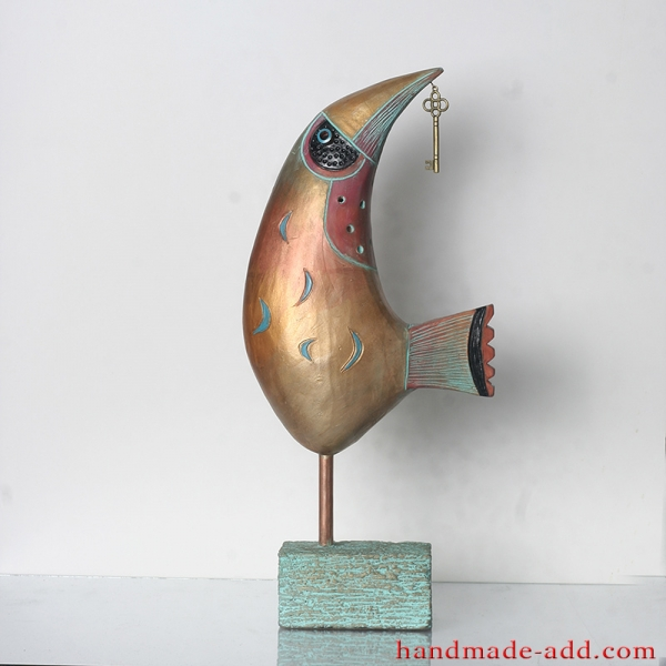 Gold Bird Figurine Pottery, Bird Art, Ceramic Bird, Bird Sculpture. Fireplace decor.