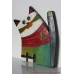 Pottery cat with fish - pottery wall hanging