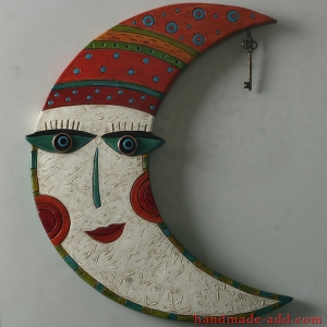 "Pottery ""Moon with key wall hanging - Moon wall hanging art ceramic - Moon wall art decor"