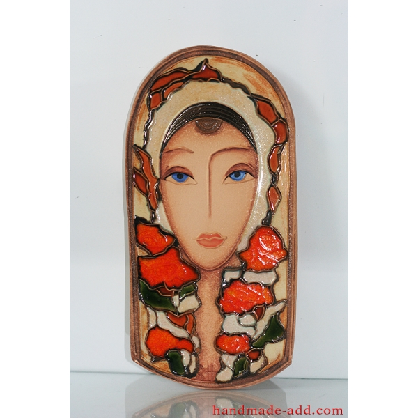 Wall decor Ceramic wall art. Wall hanging artwork. Ready to hang home decor. Relief Woman & roses .