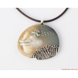 """Necklace """"Optimistic landscape"""" . Ladybug, clouds and flowers sterling silver necklace Pictured necklace pendant Gift for her, One-of-a-kind"""