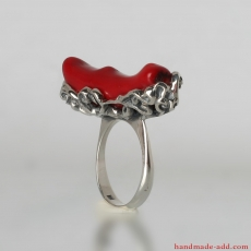 Coral silver ring. Silver ring with red gemstone. Textured sterling silver and genuine coral ring