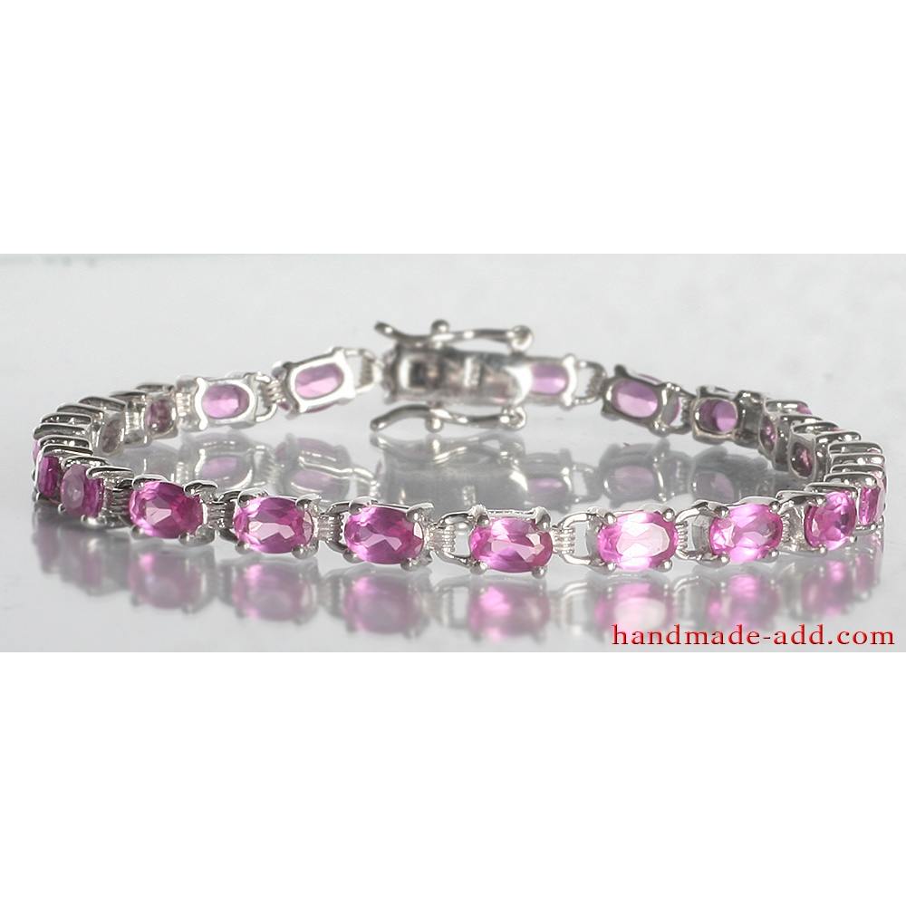 and white pink bracelet sapphire gold tennis diamond product