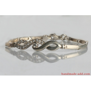Infinity bridal bracelet  clear color round shape stones. Sterling silver bridal bracelet wit CZ.