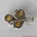 Silver Brooch Amber. Sterling Silver brooch with genuine Amber.