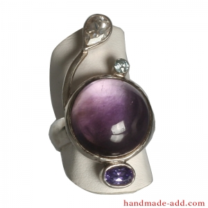 Sterling Silver Ring with Gemstones.