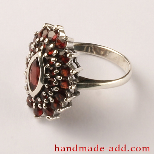 Sterling Silver Ring with genuine Garnet Round and Marquise Cut.