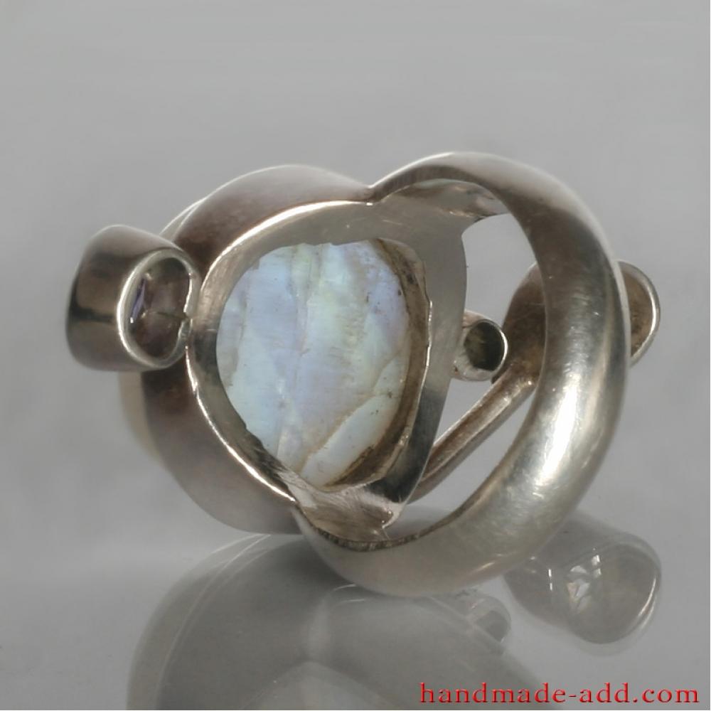 ring amethyst rainbow moonstone zircon silver sterling. Black Bedroom Furniture Sets. Home Design Ideas