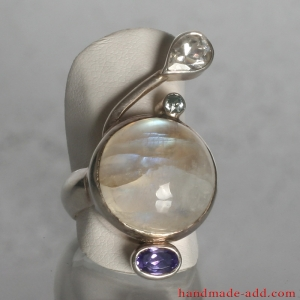 Sterling Silver Ring with Gemstones Rainbow Moonstone Amethyst Zircon