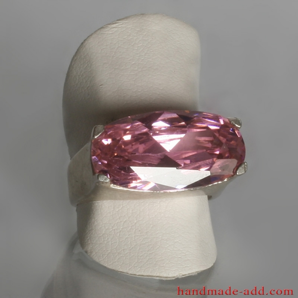Cubic zirconia bright pink ring. Sterling silver ring for women.