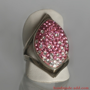 Pink ring with bright crystals. Sterling silver ring for women.