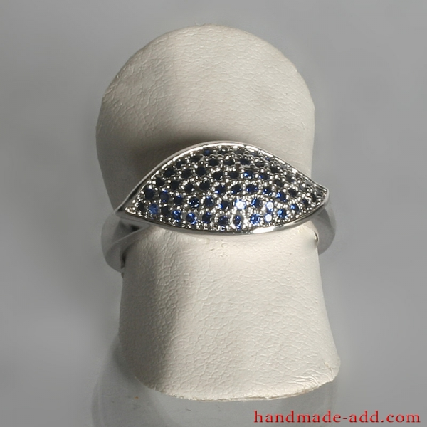 Blue cubic zirconia engagement ring. Sterling silver ring for women.